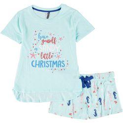 Womens Sandy Christmas Pajama Shorts Set