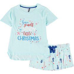 Plus Sandy Christmas Pajama Shorts Set