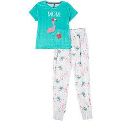 Womens Flamingo Mom Fam Jam Pajama Set