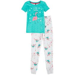 Jaclyn Intimates Childrens Lil Flamingo Reindeer Pajama Set