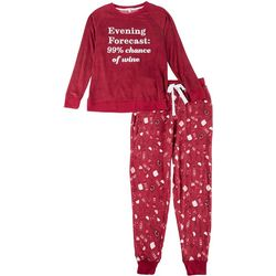 Womens 2-Pc. Wine Pajama Pants Set