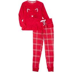 Womens 2-Pc. Cat Whiskers Pajama Pants Set