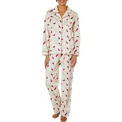 Bay Studio Womens Cardinal Sueded Fleece Pajama Pants Set