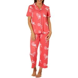 Bay Studio Womens Flamingo Print Short Sleeve Pajama Set