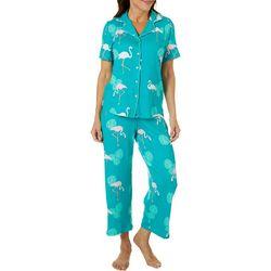Bay Studio Womens Flamingo Print Short Sleeve Pajama Set