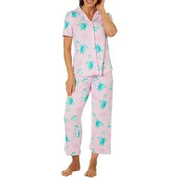 Bay Studio Womens Turtle Print Short Sleeve Pajama Set