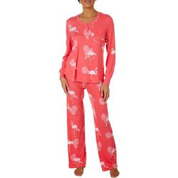 Bay Studio Womens Flamingo Print Long Sleeve Pajama Set