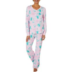 Bay Studio Womens Turtle Print Long Sleeve Pajama Set