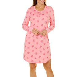 Bay Studio Womens Sea Turtle Long Sleeve Nightgown
