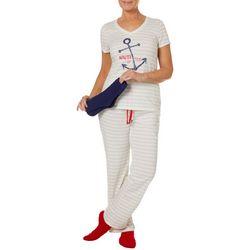 Coral Bay Womens Nauti Or Nice Pajamas & Socks Set