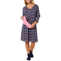 Coral Bay Womens Party Flamingo Nightgown & Socks Set