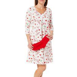 Coral Bay Womens Holiday Cardinal Nightgown & Socks Set