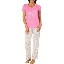 Coral Bay Womens Pink Flamingos Pajama Set
