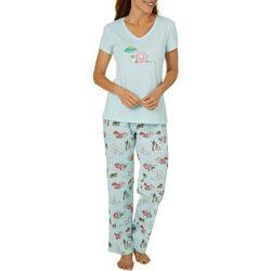 Coral Bay Womens Christmas Beach Pajama  Set