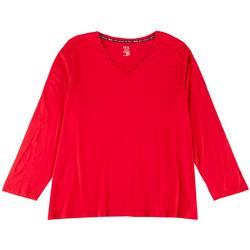 Plus Solid V-Neck Long Sleeve T-Shirt