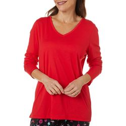 Hue Womens Solid Classic V-Neck Long Sleeve Pajama Top
