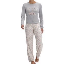 Womens Frosty Flamingals Plaid Pajama Set