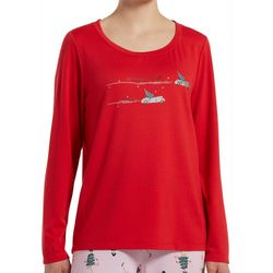 Hue Womens Spending Through The Snow Long Sleeve Pajama Top
