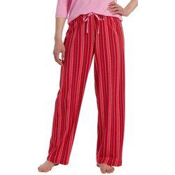 Hue Womens Holiday Stripe Print Pajama Pants