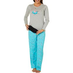 Hue Womens Ice Skating Flamingo Folded Pajama Set