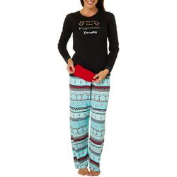 Hue Womens Christmas Cocktails Folded Pajama Set