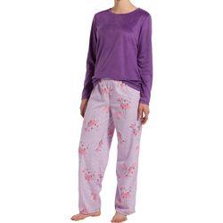 Hue Womens Holiday Flamingo Fleece Pajama Pants Set