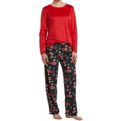 Hue Womens Christmas Cocktails Sueded Fleece Pajama Set