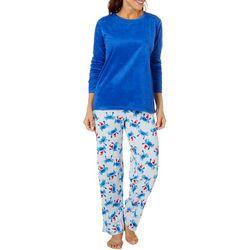 Hue Womens Crabby Santa Sueded Fleece Pajama Pants