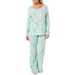 Hue Womens Flamingo Palm Pajama Pants Set