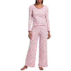 Hue Womens Candy Cane Cocktail Pajama Pants Set