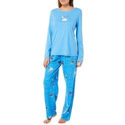 Hue Womens Winter Dog Print Long Sleeve Pajama Pants Set