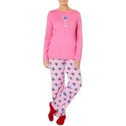 Hue Womens Present Palm Pajama Pants & Socks Set