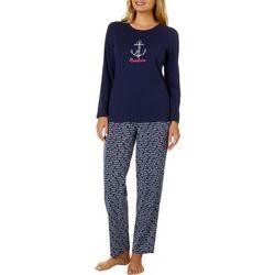 Nautica Womens 2-pc. Love Peace Nautica Pajama Pants Set
