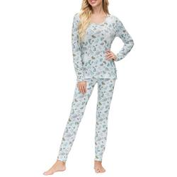 Womens Fox Print Pajama Pants Set