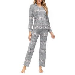 Echo Womens Winter Fair Isle Print Button Down Pajama Set