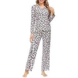 Womens Zebra Print Button Down Pajama Set