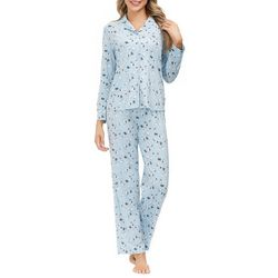 Echo Womens Bunny Print Button Down Pajama Set