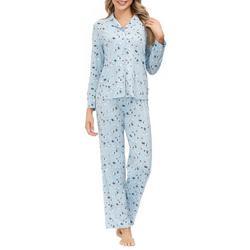 Womens Bunny Print Button Down Pajama Set