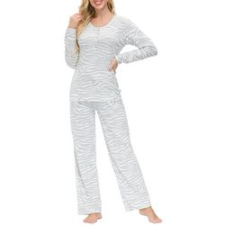 Echo Womens Zebra Henley Lounge Pajama Set