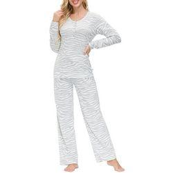 Womens Zebra Henley Lounge Pajama Set