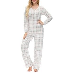 Echo Womens Plaid Henley Lounge Pajama Set