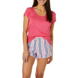 Echo Womens Striped Ruffled Pajama Shorts Set