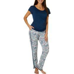 Echo Womens Paisley Print Jogger Pajama Pants Set