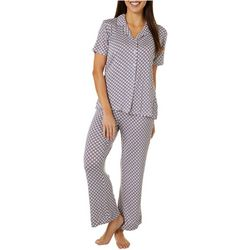 Echo Womens Geo Button Down Pajama Pants Set