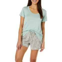 Womens Paisley Print Pajama Shorts Set