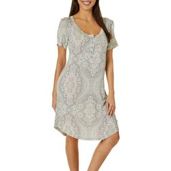 Womens Paisley Henley Nightgown