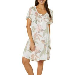 Womens Bora Bora Print Henley Nightgown