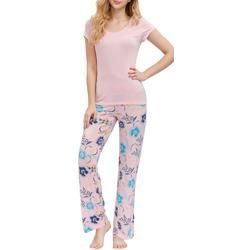 Womens Floral Print Tee & Lounge Pant Set