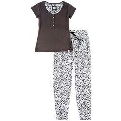 Echo Womens Leopard Print Jogger Pajama Pants Set