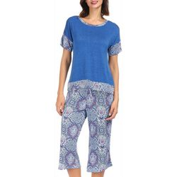 Ink + Ivy Womens Paisley Mixing Pajama Capris Set